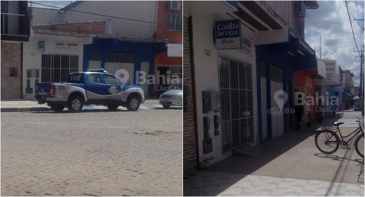 Agência credenciada da Coelba é assaltada no centro de Itabela. (Foto: Leitor Bahia Dia a Dia por meio do Whatsapp)