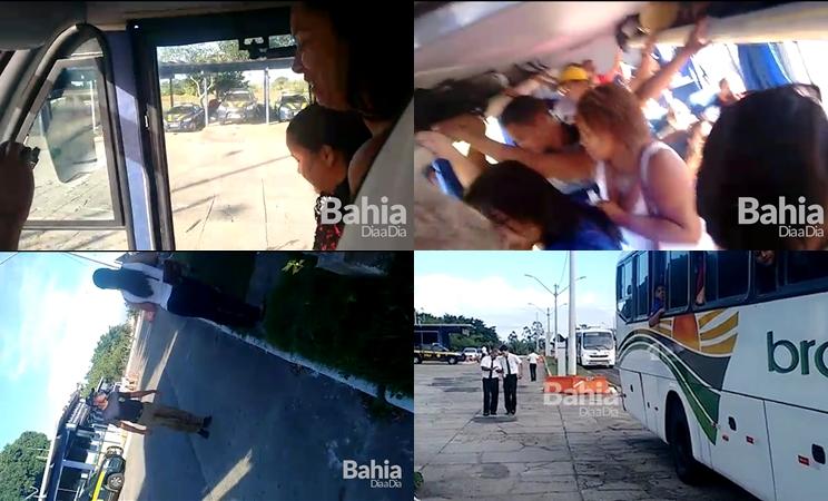 Ônibus da Expresso Brasileiro é parado e multado por superlotação. (Foto: BAHIA DIA A DIA)